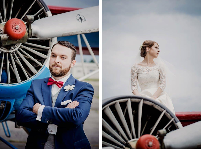 zdjęcia ślubne na lotnisku